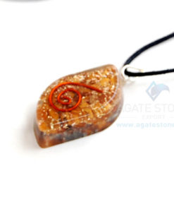 Yellow jasper Orgone Eye Pendant With Cord