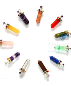Mix Gemstone Seven Chakra Collet Pendants