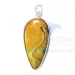 Uncut Gemstone Metal Coated Agate Stone Pendant-11