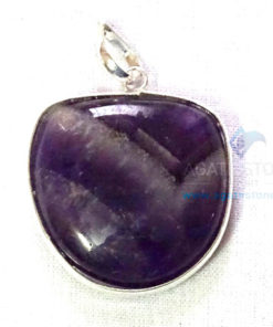 Uncut Gemstone Metal Coated Agate Stone Pendant-15