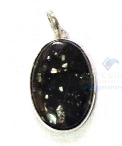 Uncut Gemstone Metal Coated Agate Stone Pendant-18