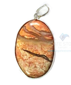 Uncut Gemstone Metal Coated Agate Stone Pendant-19