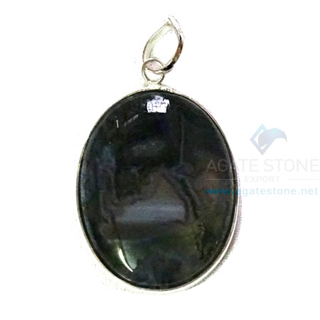 Uncut Gemstone Metal Coated Agate Stone Pendant-20
