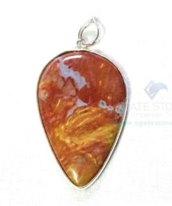 Uncut Gemstone Metal Coated Agate Stone Pendant-22