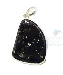 Uncut Gemstone Metal Coated Agate Stone Pendant-24