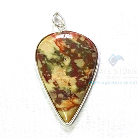 Uncut Gemstone Metal Coated Agate Stone Pendant-26