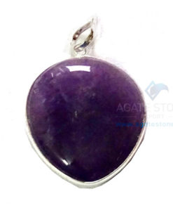 Uncut Gemstone Metal Coated Agate Stone Pendant-27
