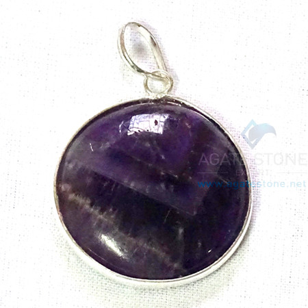 Uncut Gemstone Metal Coated Agate Stone Pendant-28