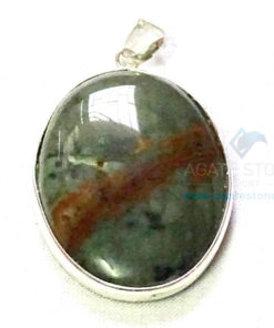 Uncut Gemstone Metal Coated Agate Stone Pendant-3