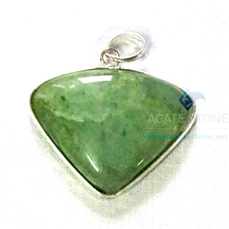 Uncut Gemstone Metal Coated Agate Stone Pendant-31