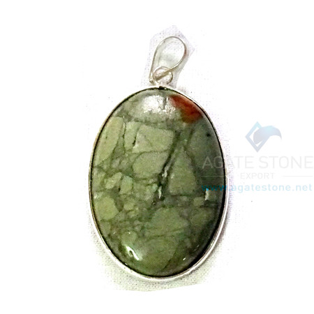 Uncut Gemstone Metal Coated Agate Stone Pendant-37