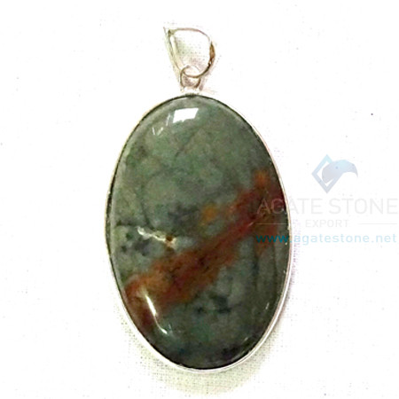 Uncut Gemstone Metal Coated Agate Stone Pendant-4
