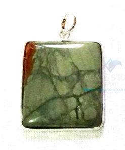 Uncut Gemstone Metal Coated Agate Stone Pendant-6