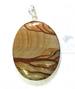 Uncut Gemstone Metal Coated Agate Stone Pendant-7