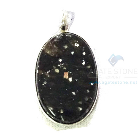Uncut Gemstone Metal Coated Agate Stone Pendant-8