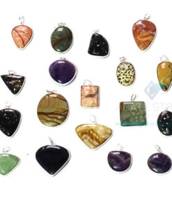 Uncut Gemstone Mix Shapes Metal Coated Agate Stone Pendant