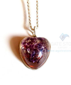 Amethyst Puffy Heart Orgonite jewellery