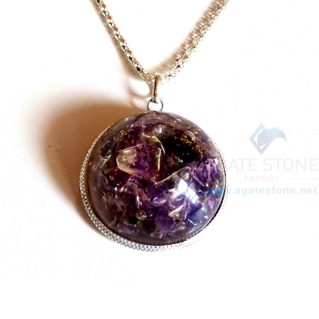 Dome Shaped Amethyst Orgonite Jewellery