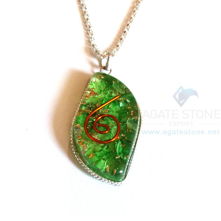 Eye Shaped Green Onyx Orgone Jewelry