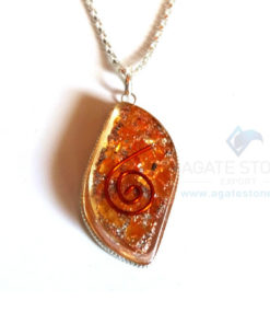 Eye Shaped Orange Onyx Orgone Jewelry