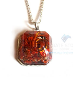 Faceted Square Red Jasper Orgonite Jewellery
