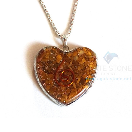 Heart Shaped Yellow Jasper Orgone Jewelry