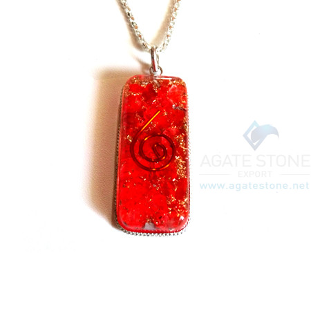Long Rectangle Shaped Red Onyx Orgonite Jewellery