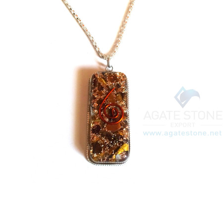 Long Rectangle Shaped Tiger Eye Orgone Jewelry