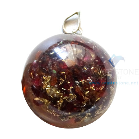Orgone Dome Shaped Garnet Stone Pendant