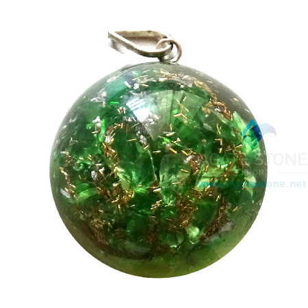 Orgone Dome Shaped Green Onyx Pendant