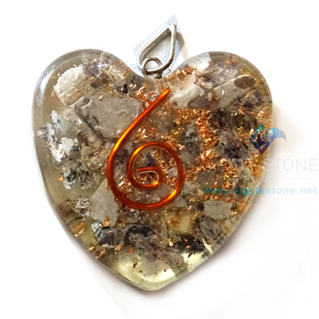 Orgone Heart Shaped Blue Aventurine Pendant