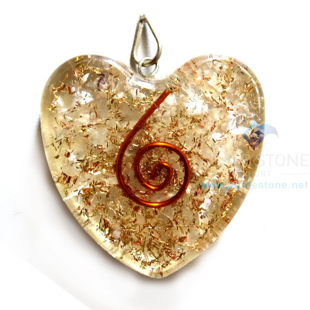Orgone Heart Shaped Crystal Clear Quartz Pendant