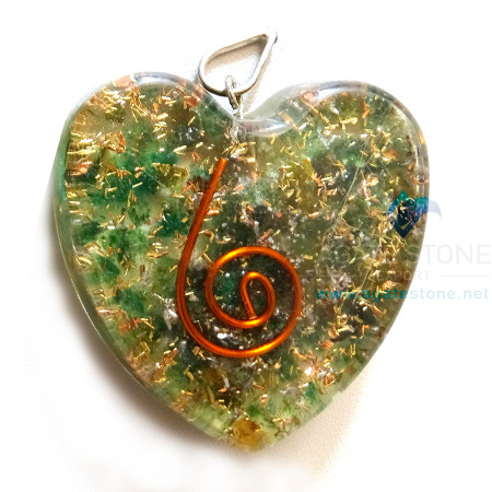 Orgone Heart Shaped Green Mica Pendant