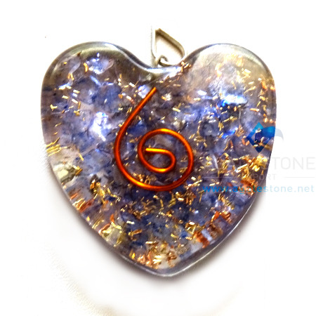 Orgone Heart Shaped Indigo Onyx Pendant