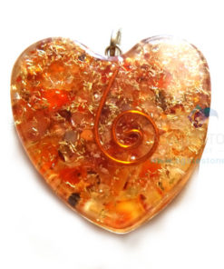 Orgone Heart Shaped Red Carnelian Pendant