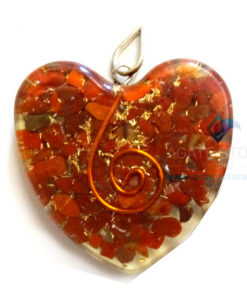 Orgone Heart Shaped Red Jasper Pendant