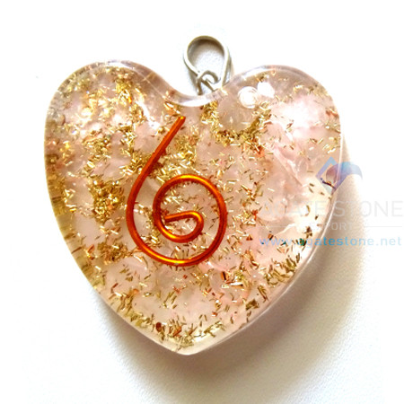 Orgone Heart Shaped Rose Quartz Pendant
