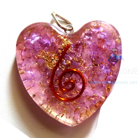 Orgone Heart Shaped Violet Onyx Pendant