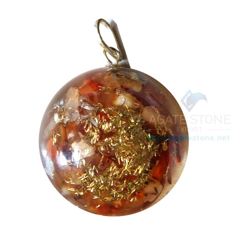 Orgonite Dome Shaped Red Carnelian Pendant