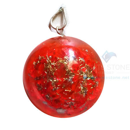 Orgonite Dome Shaped Red Onyx Pendant