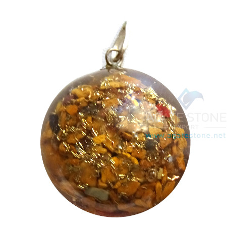 Orgonite Dome Shaped Yellow Jasper Pendant