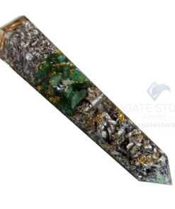 Orgonite Green Jade Massage Obelisk with Aluminium