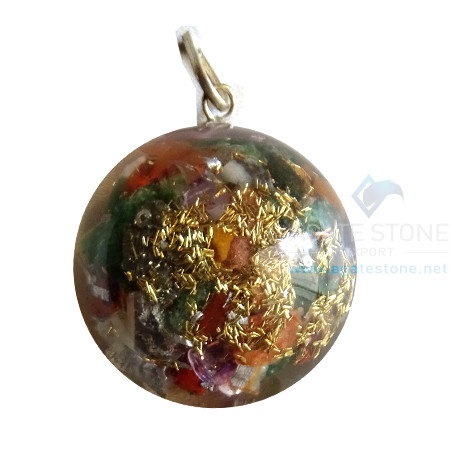 Orgonite Mix Chakra Agate Stone Dome Shaped Pendant