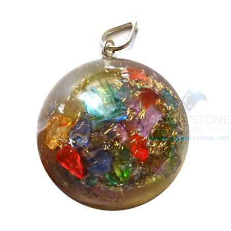 Orgonite Mix Chakra Onyx Dome Shaped Pendant
