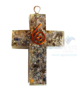 Orgonite Religious Cross Blue Aventurine Pendant