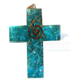 Orgonite Religious Cross Blue Onyx Pendant