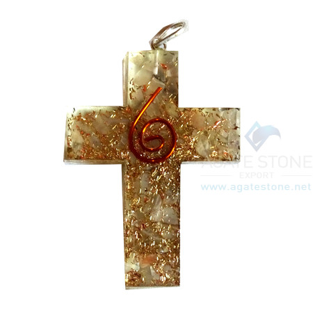Orgonite Religious Cross Crystal Quartz Pendant