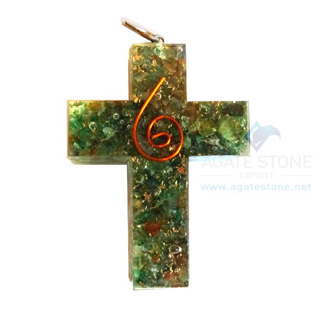 Orgonite Religious Cross Green Jade Pendant