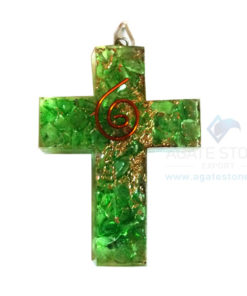 Orgonite Religious Cross Green Onyx Pendant