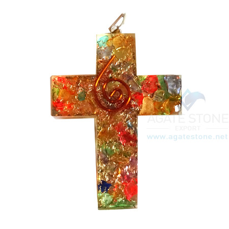 Orgonite Religious Cross Mix Chakra Onyx Pendant